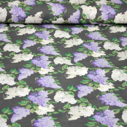 Tkanina bawełniana ze wzorem bzu na szarym tle