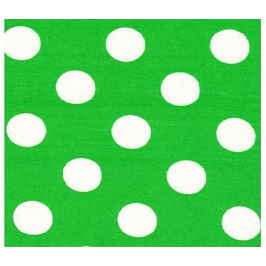 Tkanina bawełniana Białe groszki 22 mm na zielonym tle