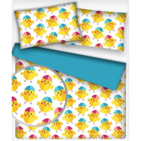 Tkanina bawełniana wzór żółte kurczaki