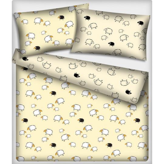 Tkanina bawełniana wzór białe i czarne owce na kremowym tle