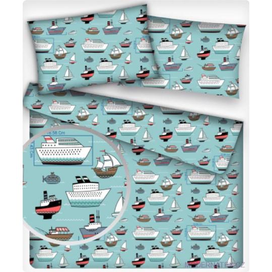 Tkanina bawełniana wzór statki na niebieskim tle